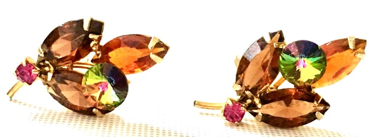 1960'S Pair Of Gold & Austrian Crystal Abstract Flower Earrings For Sale 3