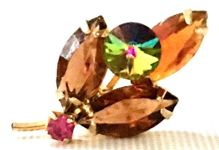 1960'S Pair Of Gold & Austrian Crystal Abstract Flower Earrings For Sale 4