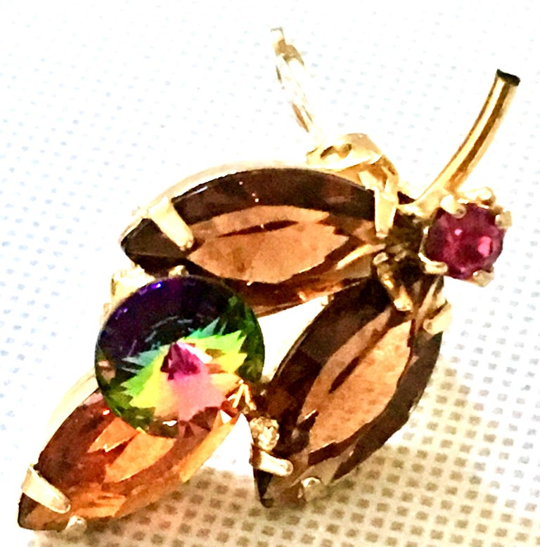 1960'S Pair Of Gold & Austrian Crystal Abstract Flower Earrings For Sale 5