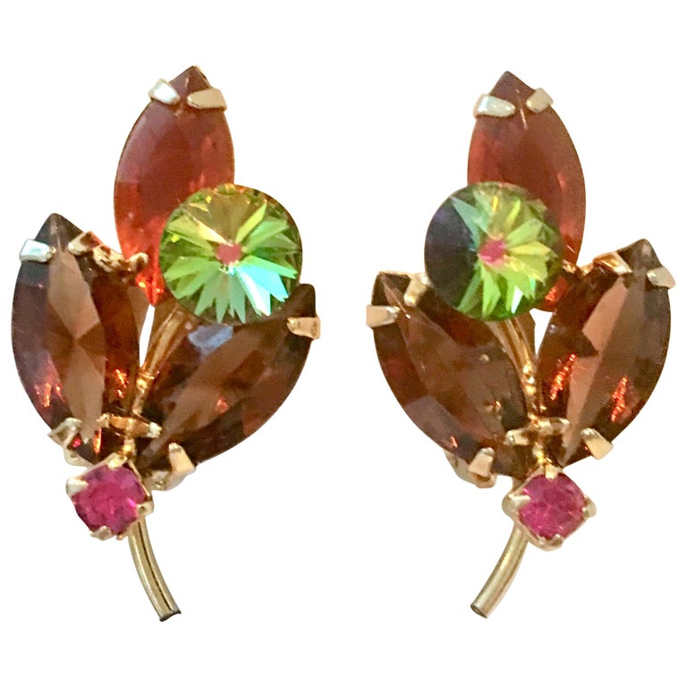 1960'S Pair Of Gold & Austrian Crystal Abstract Flower Earrings For Sale