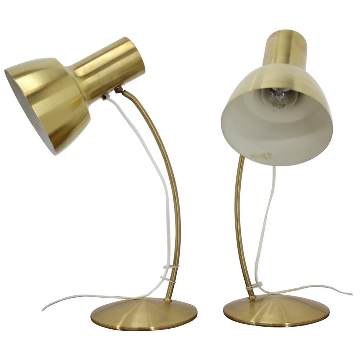 1960s Pair of Gold Table Napako Lamps, Czechoslovakia