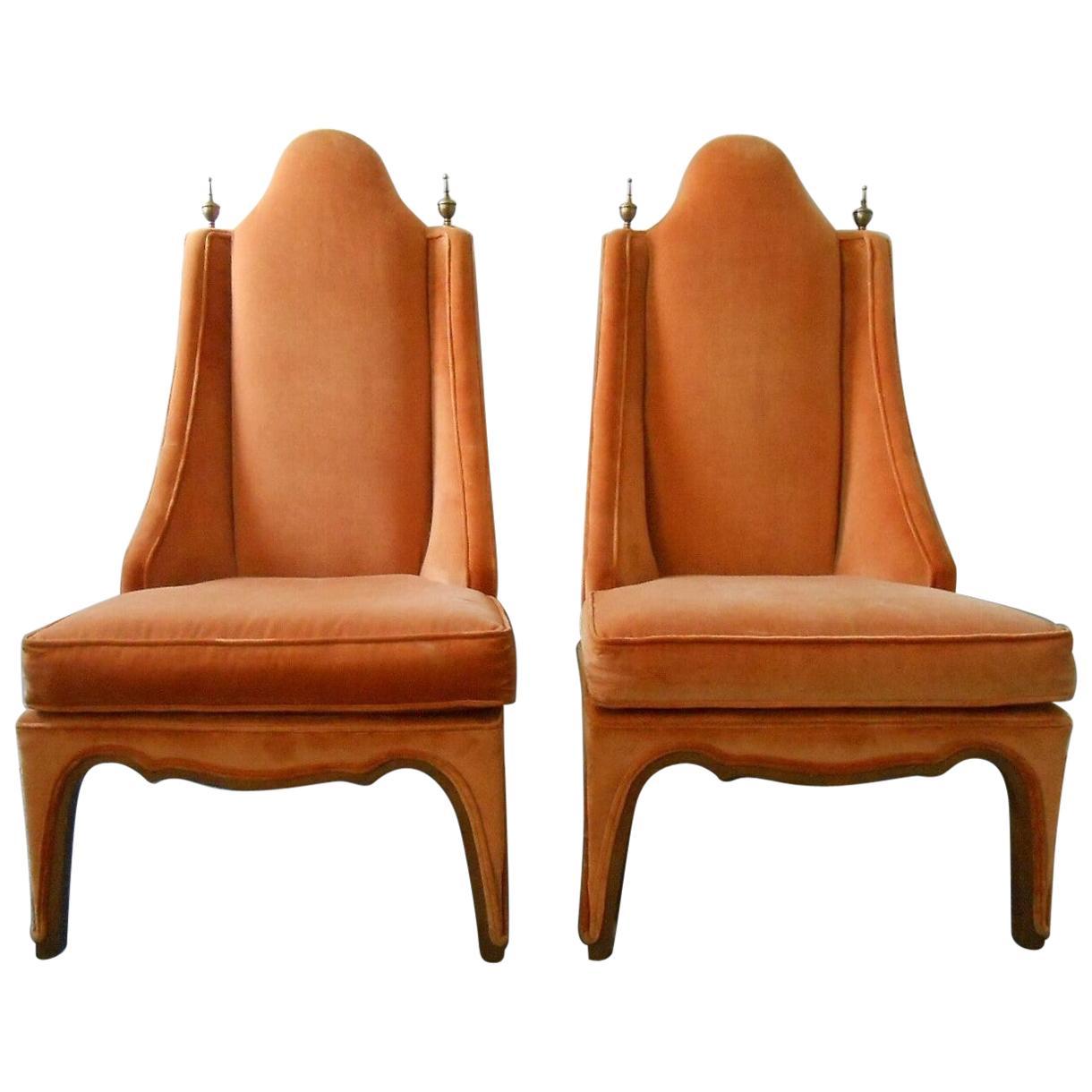 1960s Pair of Hollywood Regency Slipper Chairs in Orange with Wood Trim