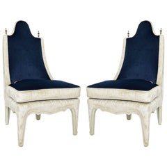 1960s Pair of Hollywood Regency Two-Tone Slipper Chairs