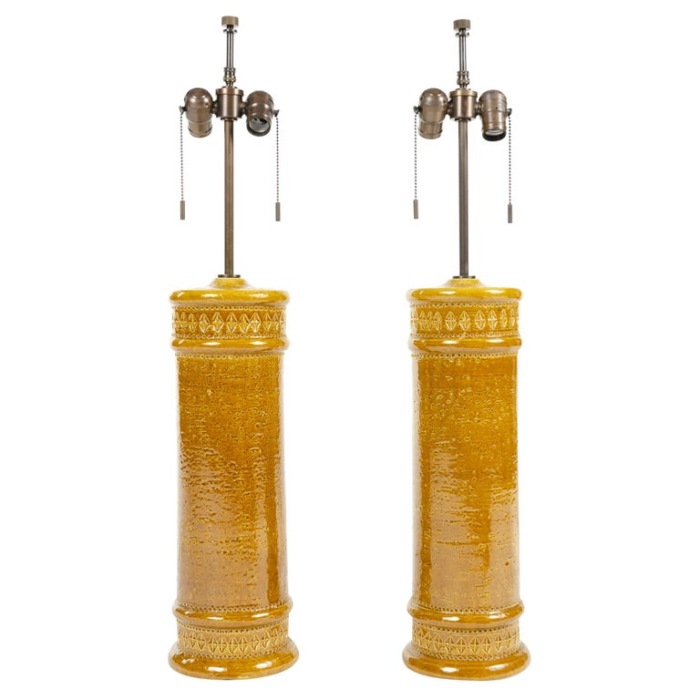 1960s Pair of Italian Ceramic Table Lamps For Sale