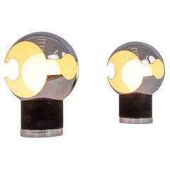 1960s Pair of Italian Mid-Century Modern Space Chrome Globe Table Lamps