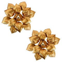 """1960s Pair of Large """"foliage"""" Wall Lights from Maison ForArt in Gilded Metal"""