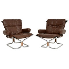 1960s Pair of Leather and Chrome Armchairs by Ingmar Relling