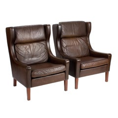 1960s Pair of Leather Mid-Century Scandinavian Wing Armchairs