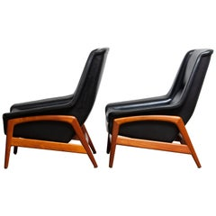1960s, Pair of Lounge Chairs 'Profil', Folke Ohlsson for DUX in Leather and Teak