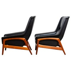 1960s Pair of Lounge Chairs 'Profil', Folke Ohlsson for DUX in Leather and Teak