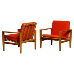 1960s Pair of Lounge / Easy Chairs in Oak Leather Fabric by Erik Merthen for Ire