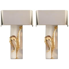 1960s Pair of Maison Charles Gilded Bronze Rooster Sconces