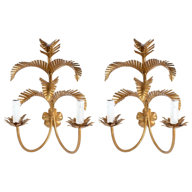1960s Pair of Maison FlorArt Gilded Palm Leaves Sconces