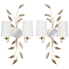 1960s Pair of Maison Honore Brass Foliage and Mirror Sconces
