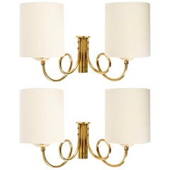 1960s Pair of Maison Honoré Brass Sconces