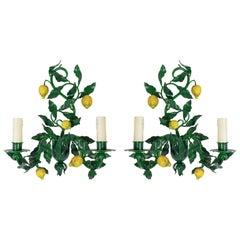 1960s Pair of Maison Honore, Lemon Tree Sconces Sconces