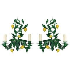 1960s Pair of Maison Honore, Lemon Tree Sconces