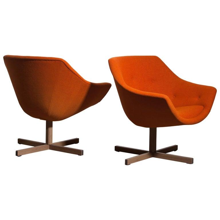 1960s, Pair of Mandarini Swivel Armchairs by Carl Gustaf Hiort and Nanna Ditzel 4