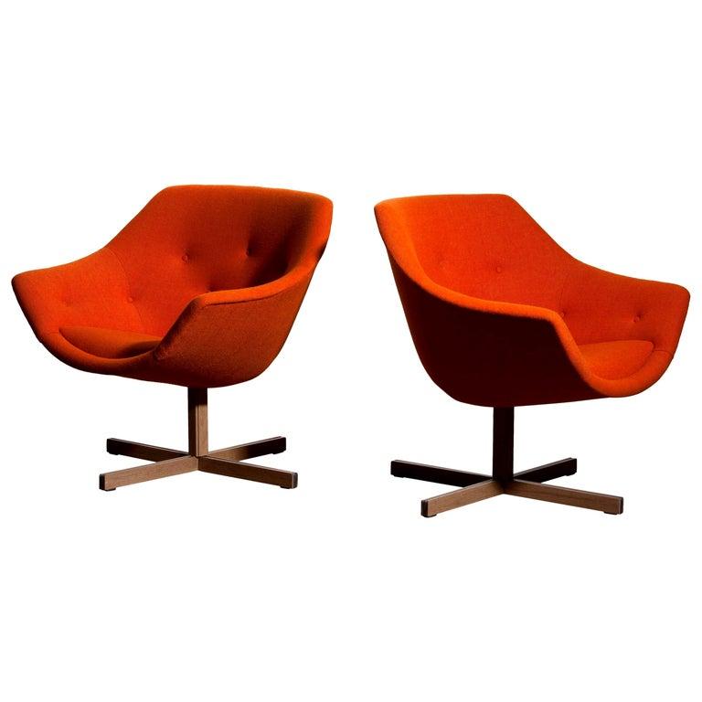 Finnish 1960s, Pair of Mandarini Swivel Armchairs by Carl Gustaf Hiort and Nanna Ditzel