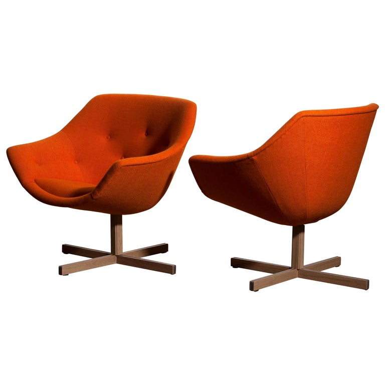1960s, Pair of Mandarini Swivel Armchairs by Carl Gustaf Hiort and Nanna Ditzel In Good Condition In Silvolde, Gelderland