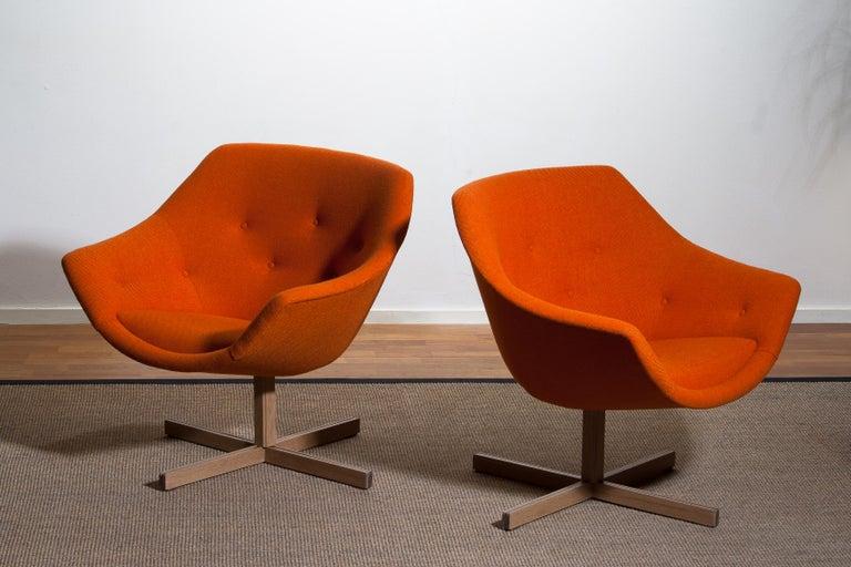 Mid-20th Century 1960s, Pair of Mandarini Swivel Armchairs by Carl Gustaf Hiort and Nanna Ditzel