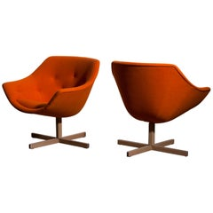 1960s, Pair of Mandarini Swivel Armchairs by Carl Gustaf Hiort and Nanna Ditzel