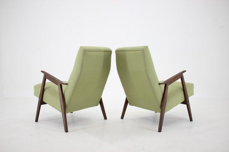 Fabric 1960s Pair of Midcentury Armchairs ,Czechoslovakia For Sale