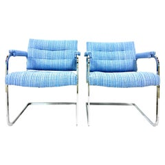 1960s Pair of Milo Baughman Style Upholstered Chrome Armchairs by, Patrician
