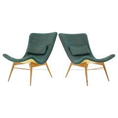1960s Pair of Miroslav Navratil Shell Lounge Chairs, Czechoslovakia