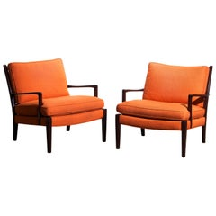 """1960s, Pair of Orange Linen Easy / Lounge Chairs """"Löven"""" by Arne Norell, Sweden"""