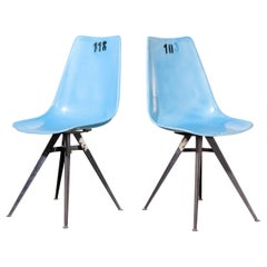 1960s Pair of Original Blue Fiberglass Side / Dining Chairs