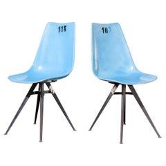 1960s Pair of Original Blue Fiberglass Side / Dining Chairs
