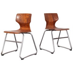 1960s Pair of Pagholz Dining Chairs Laminated Hardwood and Chrome Legs