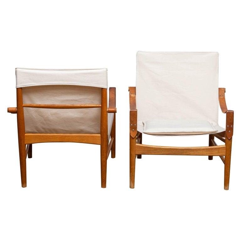 Swedish 1960s, Pair of Safari Chairs by Hans Olsen for Viska Möbler in Kinna, Sweden