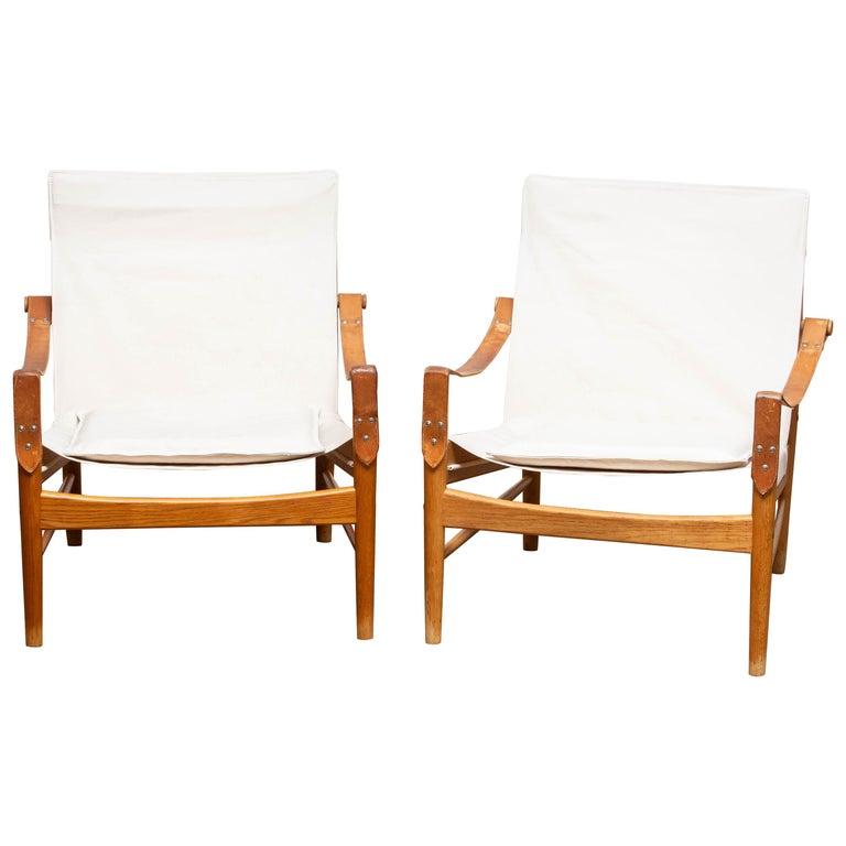 1960s, Pair of Safari Chairs by Hans Olsen for Viska Möbler in Kinna, Sweden In Good Condition In Silvolde, Gelderland