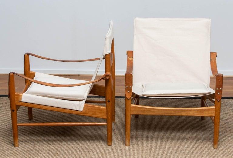 Mid-20th Century 1960s, Pair of Safari Chairs by Hans Olsen for Viska Möbler in Kinna, Sweden