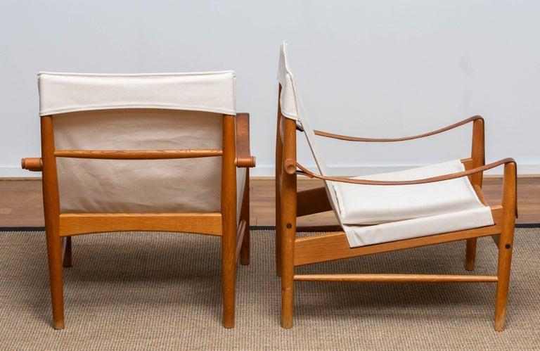 Canvas 1960s, Pair of Safari Chairs by Hans Olsen for Viska Möbler in Kinna, Sweden