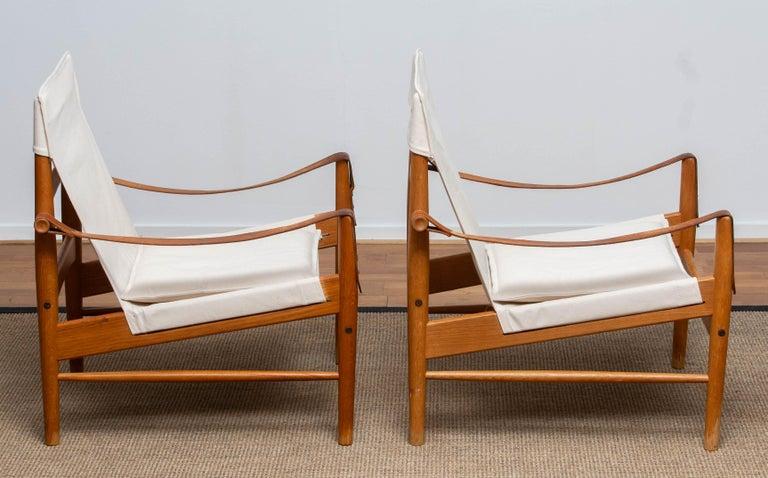 1960s, Pair of Safari Chairs by Hans Olsen for Viska Möbler in Kinna, Sweden 1