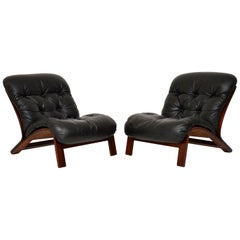 1960s Pair of Scandinavian Leather Chairs by Rybo Rykken