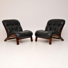 1960's Pair of Scandinavian Leather Chairs by Rybo Rykken