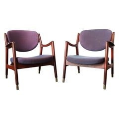 1960s Pair of Norwegian Sculptural Teak Lounge Chairs