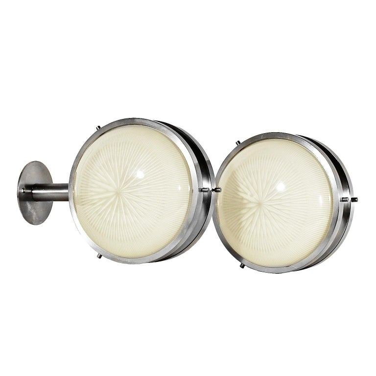 1960s Pair of Sigma Wall Lights by Sergio Mazza for Artemide Brass Glass, Italy For Sale