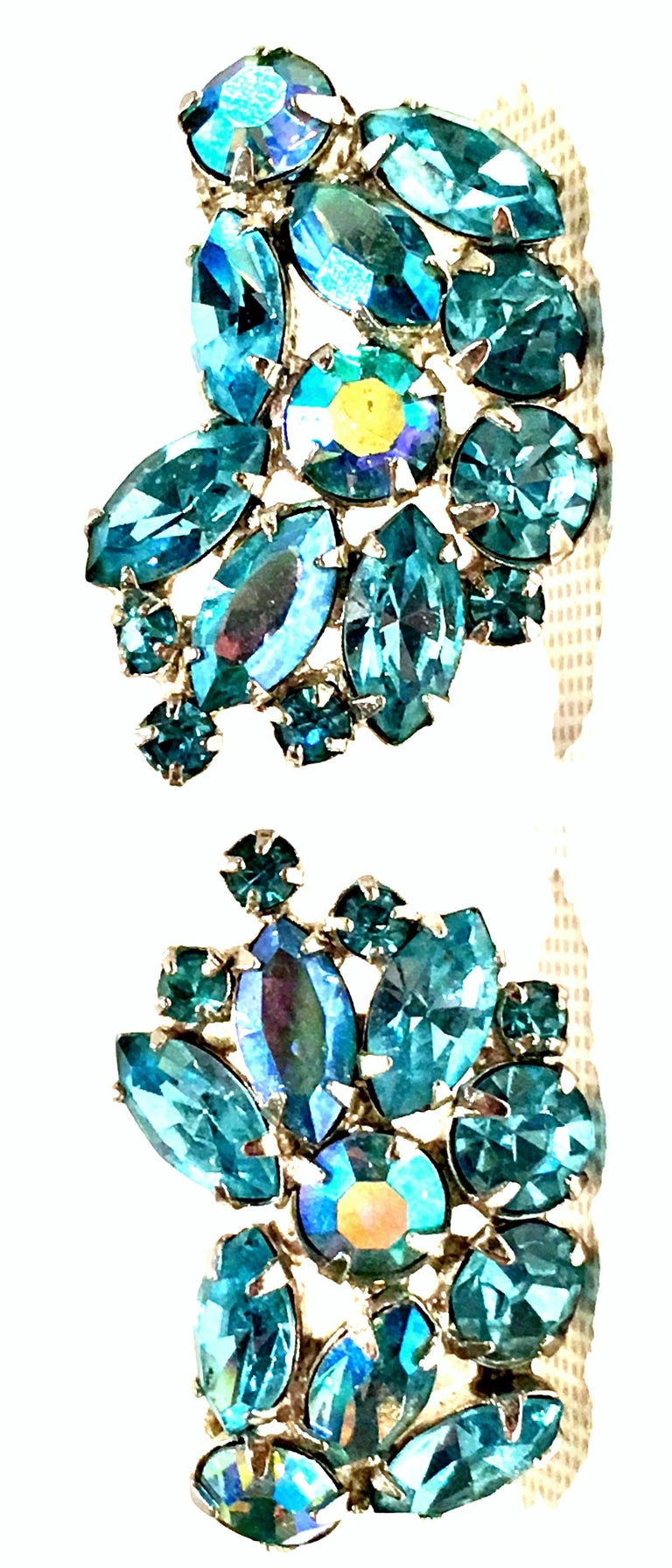 1960'S Pair Of Silver Plate & Swarovski crystal Sapphire Blue earrings By, Weiss. Features a