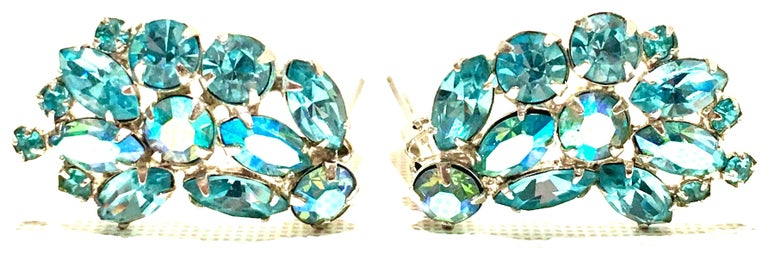 1960'S Pair Of Silver & Sapphire Blue Swarovski Crystal Earrings By, Weiss In Good Condition For Sale In West Palm Beach, FL