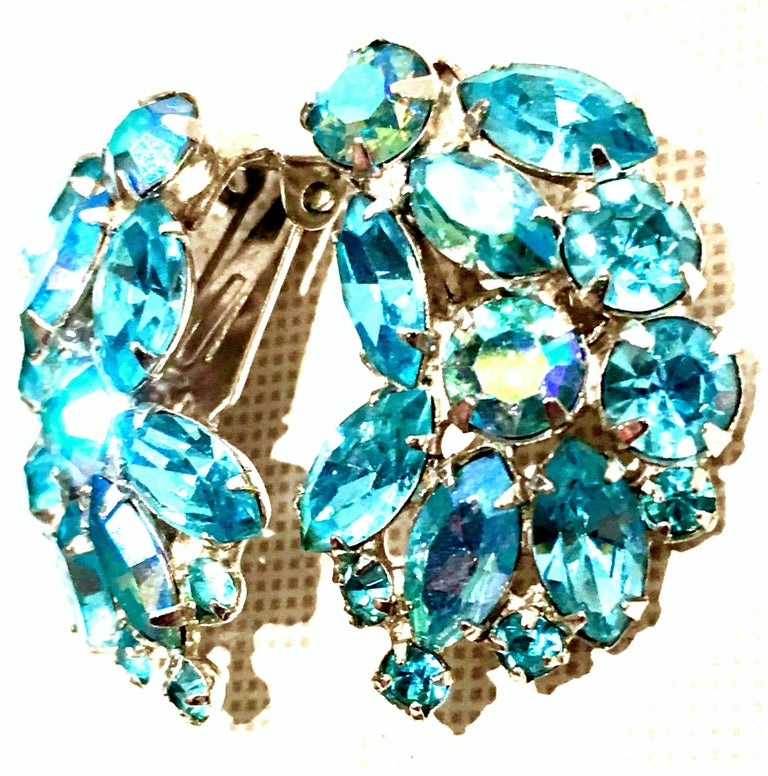 Women's 1960'S Pair Of Silver & Sapphire Blue Swarovski Crystal Earrings By, Weiss For Sale
