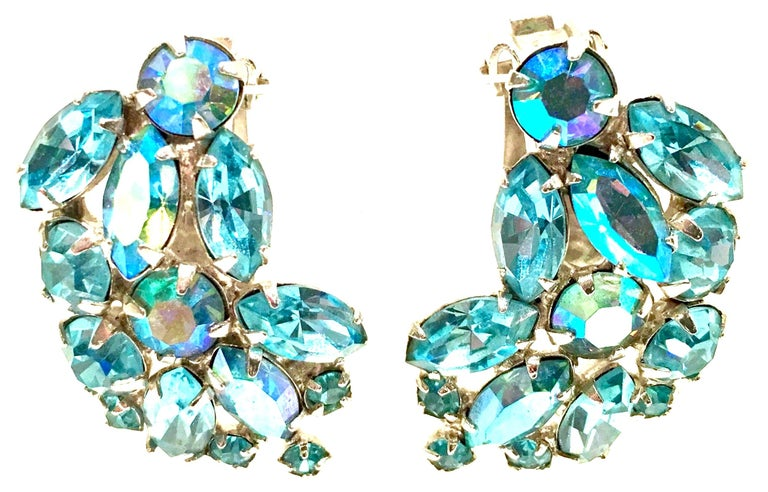 1960'S Pair Of Silver & Sapphire Blue Swarovski Crystal Earrings By, Weiss For Sale 1