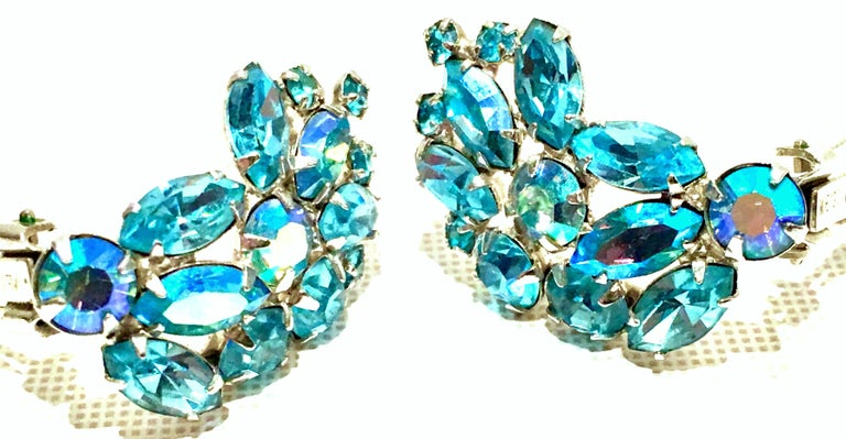 1960'S Pair Of Silver & Sapphire Blue Swarovski Crystal Earrings By, Weiss For Sale 2