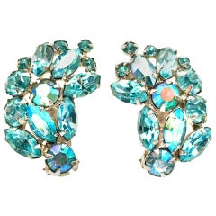 1960'S Pair Of Silver & Sapphire Blue Swarovski Crystal Earrings By, Weiss