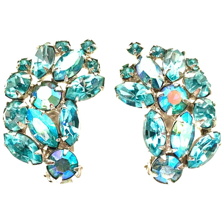 1960'S Pair Of Silver & Sapphire Blue Swarovski Crystal Earrings By, Weiss For Sale
