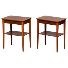 1960s Pair of Slim Scandinavian Mahogany Nightstands with Brass Handles